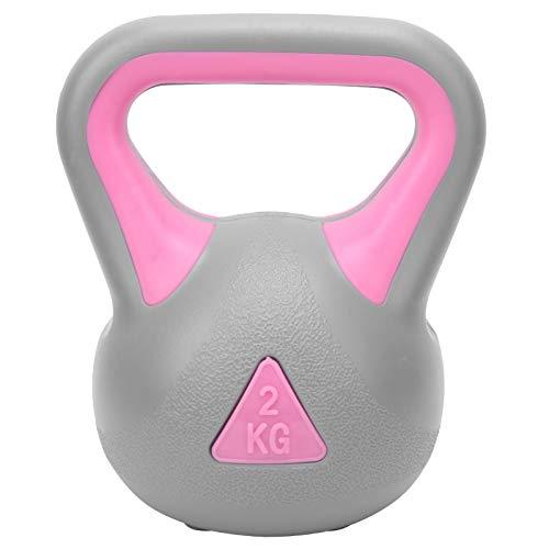 Vbest life 2KG de Doble Color Fitness Kettlebell Peso Hervidor Campana Brazo Entrenamiento de Fuerza Caldera de Agarre Ancho Equipo Deportivo con Mancuernas(Rosa Gris) 🔥
