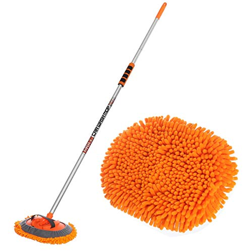 MATCC 62'' Car Wash Mop with Aluminum Long Handle Chenille Microfiber Wash Mop Car wash Brush Duster Scratch Free Washing Supplies 180 Degree Rotation for Cleaning RV Cars and Bus