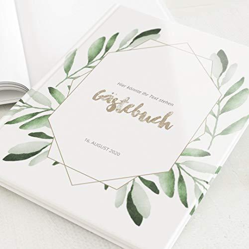 sendmoments Gästebuch, Grün, personalisiert mit Ihrem Text, hochwertige Blanko-Innenseiten, 32...