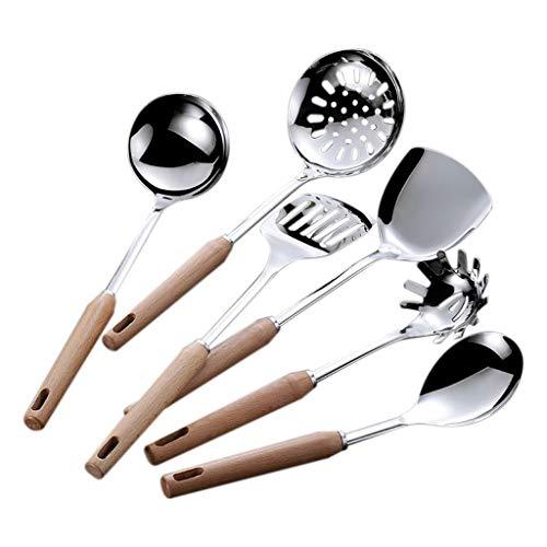 SHYPT 6 PCS Cocina de Acero Inoxidable Utensilio Manejo de Madera Herramientas de cocción Set Turner Ladle Cuchara para Restaurante Juego de Utensilios de Cocina