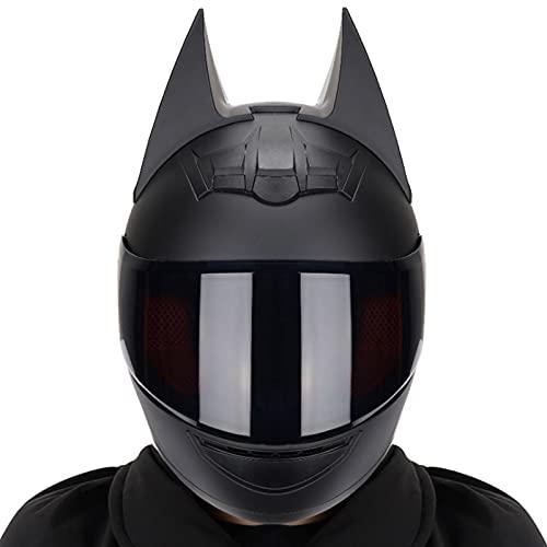 Casque Batman Approuvé Par le Dot/ece, Moto électrique pour Hommes et Femmes, Casque Intégral de Motocross de Course Cool, Casque Moto Knight pour Hommes, Casques Modulaires,#3,XL