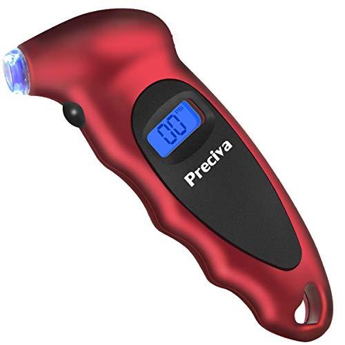 Preciva Tire Pressure Gauge, Digital Tire Pressure Gauge with Backlight LCD Display and 4 Settings, 150 PSI, Air Pressure Gauge Tester Tool for Cars, SUV, Trucks, Motorcycles and Bicycles
