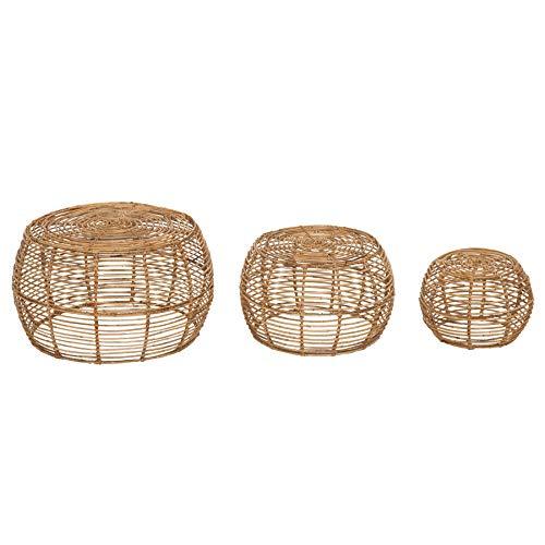 Invicta Interior Handgearbeitetes 3er Set Couchtisch Bamboo Lounge Rattan Beistelltische Rattantische Satztische Wohnzimmertische