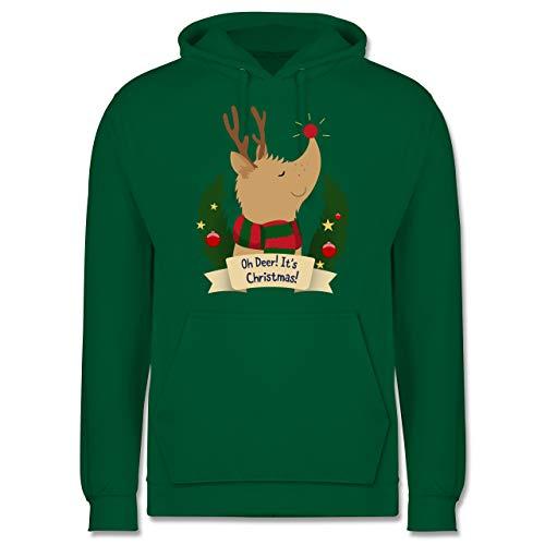Weihnachten & Silvester - Rudolph - It's Christmas - M - Grün - Statement - JH001 - Herren Hoodie und Kapuzenpullover für Männer