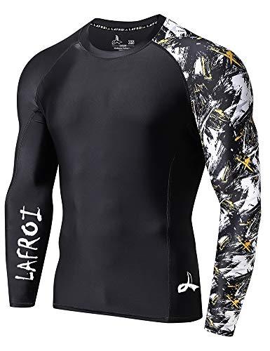 LAFROI - Camiseta de neopreno protectora, de compresión, para hombre, manga larga, UPF 50+, ajustada, modelo CLYYB, Hombre, GB-CLYYB_Bt-C-Asym Swipes-LG, Swipes asimétricos, L