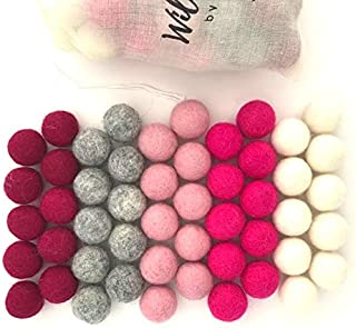 "Wildflower by Hu Hands 100% Handmade Wool Felt Pom Poms - Cozy Love Pink - (50) Pure New Zealand Wool Felt Balls - DIY Pompoms - 0.8-1.0"" Size - Drawstring Muslin Bag"