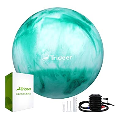 Trideer Exercise Ball (45-85cm) Extra Thick Yoga Ball Chair, Anti-Burst Heavy Duty Stability Ball Supports 2200lbs, Birthing Ball with Quick Pump (Office & Home & Gym) (Green&White, 55cm)