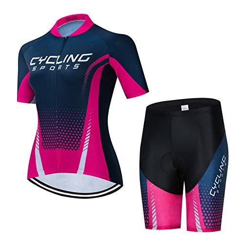 AIISHY Traje de Ciclismo Mujer, Conjunto de Camiseta de Manga Corta MTB Transpirable para Ciclismo Deportes al Aire Libre,3XL