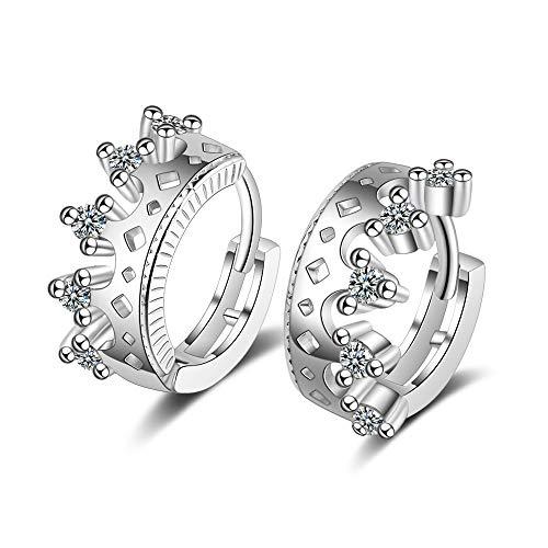 Pendientes de corona de cristal con pendiente de plata de ley 925 para mujer, joyería de oreja de niña coreana para mujer