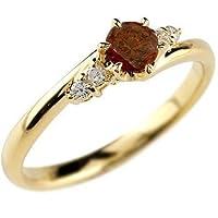 ガーネットリング ダイヤモンド 指輪 ピンキーリング イエローゴールドk18 大粒 1月誕生石 手作り レディース 誕生石エンゲージリング 5