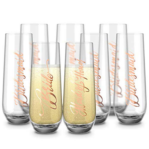 Bride & Bridesmaids Stemless Champagne Flutes, by Kook, Durable Glass, Set of 8, 10.5oz (Bridal)
