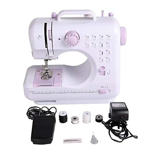 Sewing Machine with Foot Pedal Portable Desktop Electric Overlock Sewing Machines, 12 Stitches 2 Speed Heavy Duty Sew Machine for Beginner