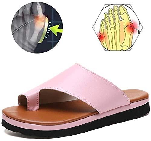 KIDsstz Sandalias Correctoras Sandalias Mujer Verano Plataforma Alpargatas Esparto Cuña Zapato Hebilla Punta Abierta Comodas PU Zapatillas Corrector de juanetes ortopédico Casuales