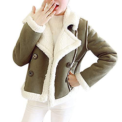 YUESJX Stylische Fleecejacke für Herbst und Winter, Damen, Kurze Jacke, Oberbekleidung, warm, schmale Passform Gr. Small, grün