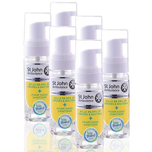 St John Ambulance - Desinfectante de manos de espuma | grado hospitalario y científicamente probado, paquete de 6 | 50 ml