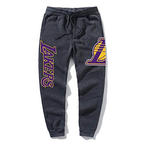 UIQB Lakers 24 Guard Basketball Hosen Sport Füße Hosen atmungsaktive dünne Taille Männer Sporthosen, Taschensport Hosen Männer Basketballhose Dark Gray-XL