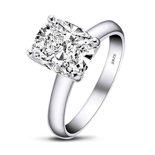 AINUOSHI 925 Sterling Silver 3 Carat Cushion/Asscher Cut and 4 Carat Oval Cut SONA 5A+ Cubic Zirconia Engagement Rings for Women Size H1/2