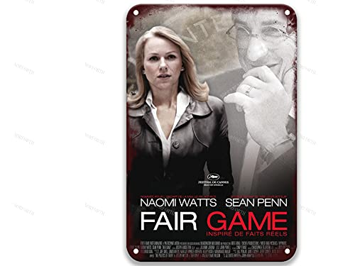 sfasf Fair Game (I) (2010),Vintage Movies Metal Tin Signs Poster Plate Painted for Toilet Decorative Decor Bedroom Aquarium 8x12 Inches