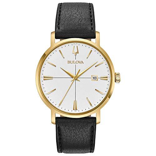 Bulova Herren Analog Quarz Uhr mit Leder Armband 97B172
