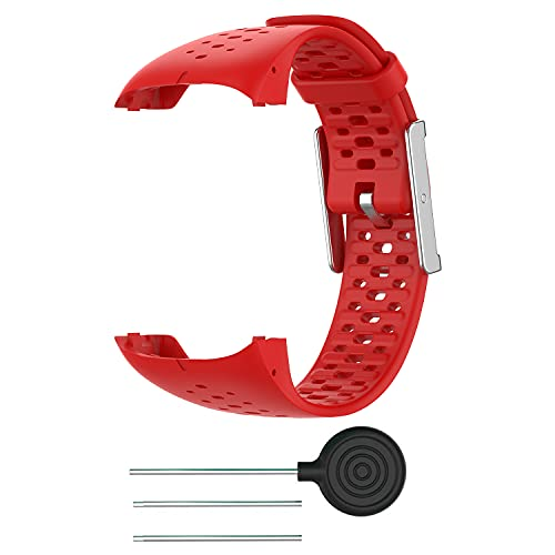 BoLuo Correa para Polar M400,Bandas Correa Repuesto,Correas de Reloj,Silicona Reloj Recambio Ajustable Brazalete Correa Repuesto Strap Wristband para Polar M400/Polar M430 GPS Running Watch (rojo)