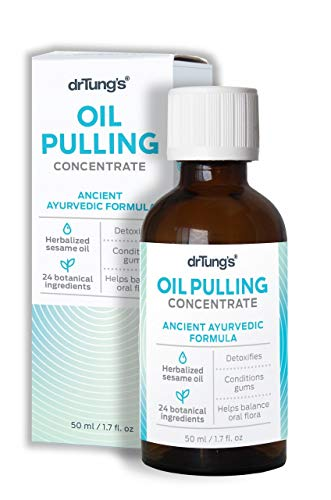 DrTung's Oil Pulling Concentrate Authentic Ayurvedic Formula, Herbalized Sesame Oil Pulling Formula, 1.7 Fluid Ounce