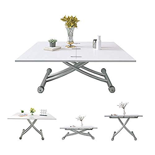 Jeffordoutlet Dining Party Table, Lift Up Modern Shape Height Adjustable Coffee table,White Living Room Furniture