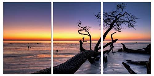 Chic Home Decor Hawaii 3-teiliges Leinwand-Wandkunst-Set, Giclée-Druck, modern, mehrfarbig, Aloha, Sonnenuntergang am Horizont, gespannt, 50,8 x 102,9 cm, 50,8 x 40,5 cm, Schwarz, Blau, Orange