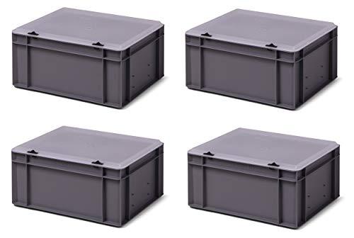 4er-Set Aufbewahrungsboxen Stapelboxen mit Deckel grau/transparent, 40 x 30 x 18,5 cm, extra stabil, Industriequalität aus DE