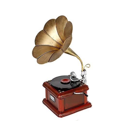 WUBAILI Metal Retro Vintage Modelo De Fonógrafo Tocadiscos Prop Antiguo Modelo De Gramófono Home Office Club Bar Decoración Adornos,S