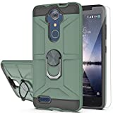 YmhxcY Case for ZTE Max XL/ZMAX Pro/Carry/Imperial Max/Max Duo LTE with HD Screen Protector 360 Degree Rotating Ring Kickstand Holder Dual Layers of Shockproof Phone Case for ZTE Z981-ZS Dark Green
