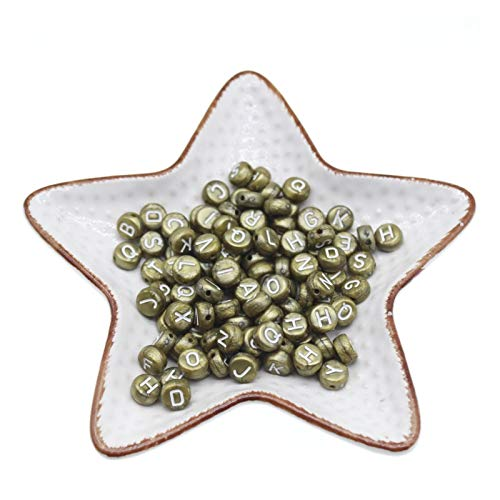 KTSM-Stop-T Spacer Beads, 300PCS Round Mix Color Acrylic Letter Beads for Jewelry Making Kid Diy Material Loose Spacer 4 * 7mm for Jewelry Making (Color : A283 bronze)
