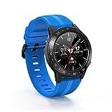 Reloj Inteligente Hombres Tarjeta SIM Llamadas Bluetooth GPS Rastreador Deportivo Brújula Barómetro Monitor de Ritmo cardíaco Control de música Reloj Inteligente, Azul,