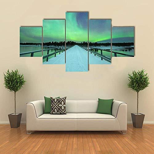 TOPRUN 5 Piezas Cuadro sobre Lienzo De Fotos Espectaculares Auroras boreales sobre el Puente y el río Lienzo Impresión Cuadros Decoracion Salon Grandes Cuadros para Dormitorios Modernos Mural Pared