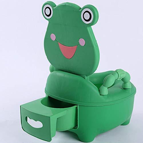 JINGMEI Vasino Bambini,Toilette Pulizia Bacinella Estraibile-Igienica Coperchio,Bambini con Imbottitura Soft Maniglie Toilette WC,per Una Bambina E Un Ragazzino,Greenfrog