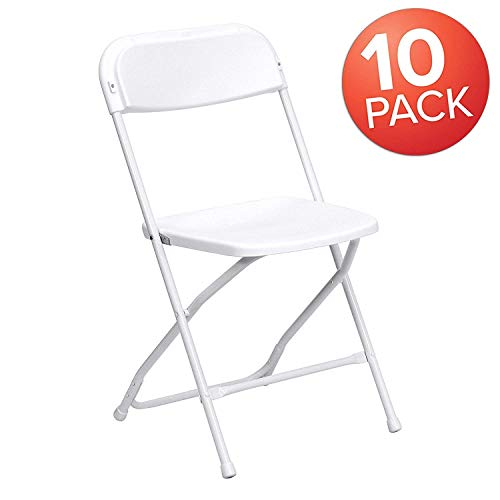 AJP Distributors 10 Pack 650 lb Capacity Premium Plastic Folding Chairs Wedding Party Outdoor Indoor Office Meeting House Dinner Diner White