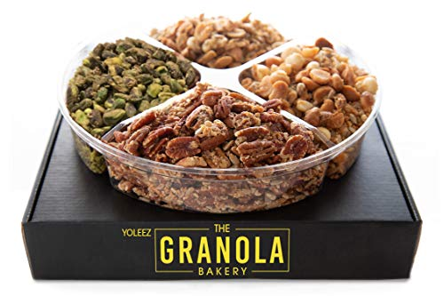Granola Bakery - Gourmet Flavored Nuts Gift Box - Keto, Gluten Free, Grain Free, Diabetic Diet Friendly Variety Nut Mix Assortment | Fresh Holiday Prime Delivery Gifts Basket (6 Flavors)