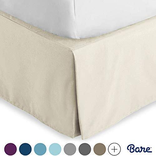Bare Home Kids Bed Skirt Double Brushed Premium Microfiber, 15-Inch Tailored Drop Pleated Dust Ruffle, 1800 Ultra-Soft, Shrink and Fade Resistant (Twin XL, Sand)