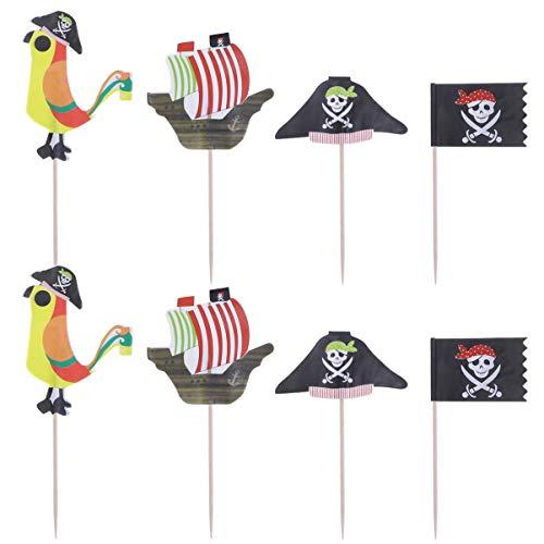 Amosfun Cupcake-Aufsätze mit Piraten-Motiv, Obst, Dessert, Dekoration, für Geburtstag, Babyparty, Halloween-Party, 48 Stück