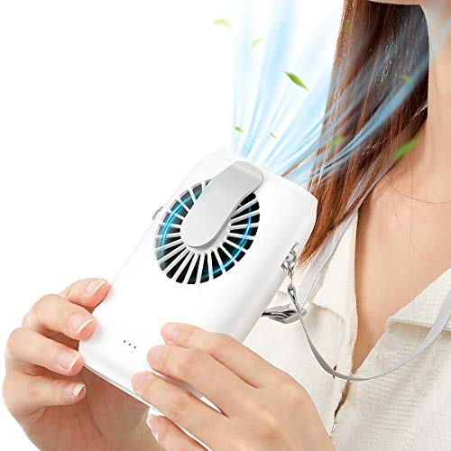 Vintoney Mini Handheld Fan Portable, Power Bank Function, Necklace Fan of 3 Switching Speed, Compatible for Office Home Outdoor Traveling, USB Charging, Built-in Battery