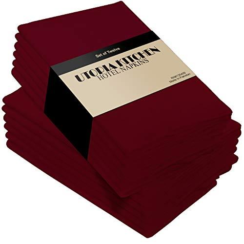 Utopia Kitchen Cloth Napkins 18 by 18 Inches 12 Pack Burgundy Dinner Napkins Cotton Blend Soft Durable Napkins