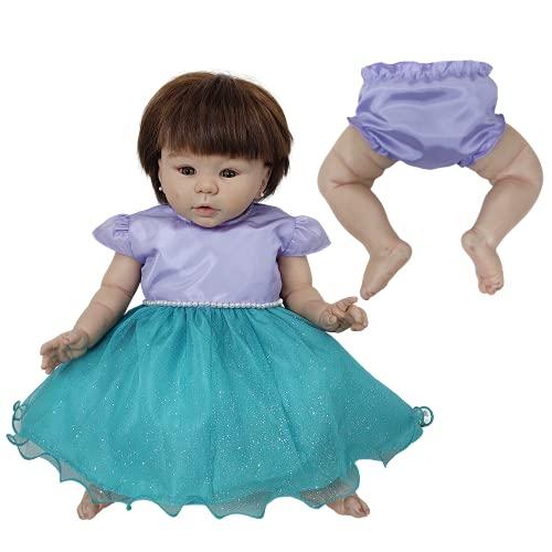 Vestido + Calcinha de Princesas Para Bebê Reborn Roupas de Bonecas (Lilas - Verde)