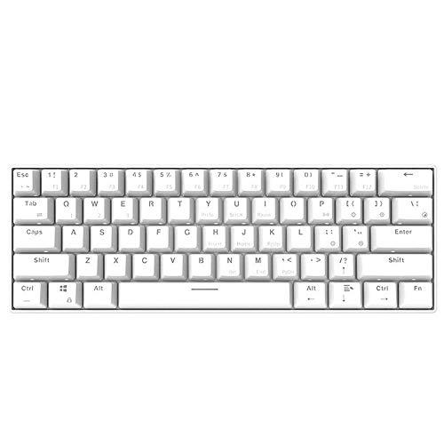 Allamp Mechanische Tastatur mechanische Gaming-Tastatur 61 Tasten NKRO Dual Mode USB Wired Bluetooth...