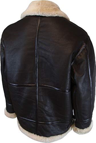 UNICORN Hommes Réel en cuir Veste en peau de mouton volant veste aviateur Brun Taille 40 #S5