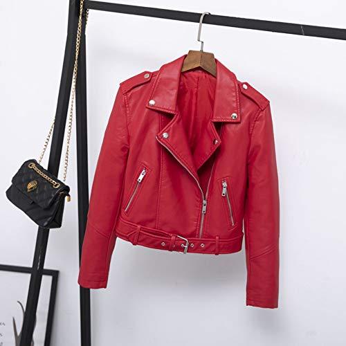 XL_nspiyi Cinturón Corto de Solapa de Chaqueta de otoño y otoño Femenino de Cuero pequeño clásico