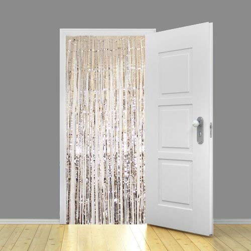SHIMMER FOIL METALLIC DOOR CURTAIN ANNIVERSARY WEDDING PARTY DECORATION- NEW (SILVER)