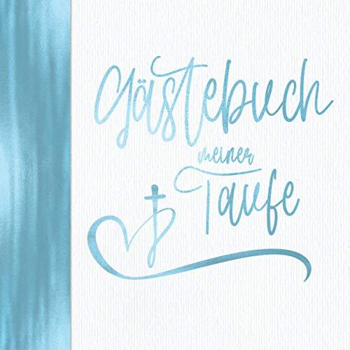 Gästebuch meiner Taufe: Vintage Blau für Jungen I Kirche Taube Fisch Kreuz I Geschenkidee und...