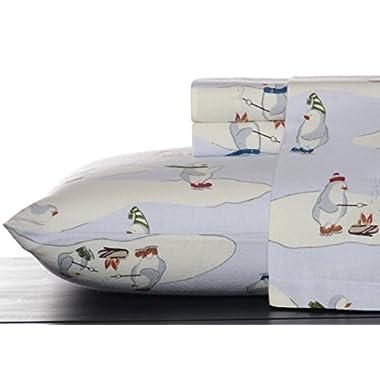 Eddie Bauer 196484 Skating Penguins Sheet Set, Blue Sky, Queen