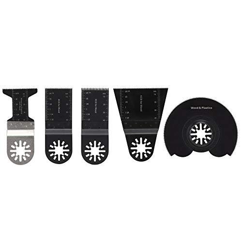 Kit de hojas de sierra oscilantes de 5 piezas, accesorios de multiherramienta universal de acero de alto carbono, hojas de sierra para cortar madera y plástico