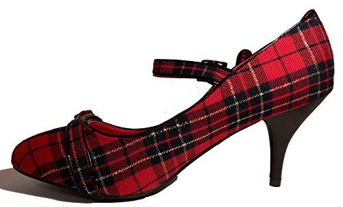 Stiletto Pumps High Heels Kariert. Schwarz - Rot. Damenschuhe. mit Zwei Schnallen. Schuh für Damen. ein Besonderer Hingucker-Schuh. Rot-Schwarz. PHH113. Größe 38.