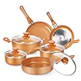 KUTIME 10pcs Cookware Set, Pots and...